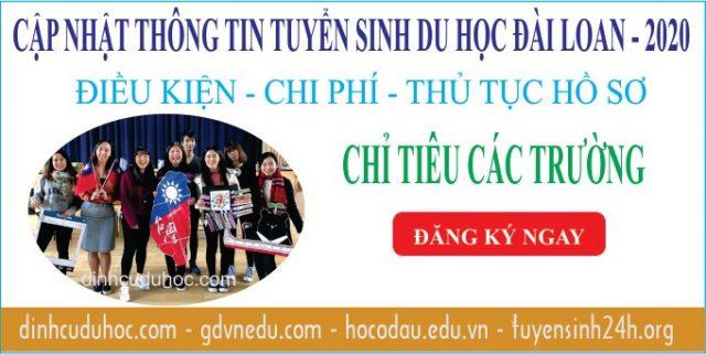 Chỉ tiêu tuyển sinh du học Đài Loan 2020